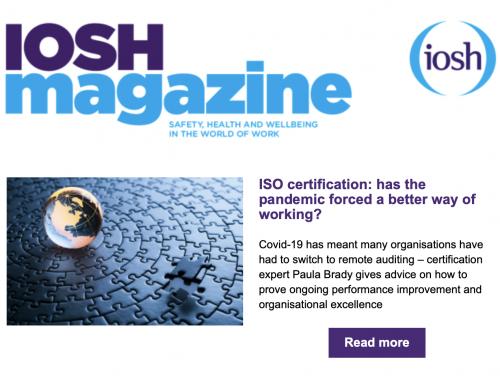 Auva Certification features in IOSH magazine